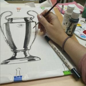clase de pintura en tela de doart copa de futbol