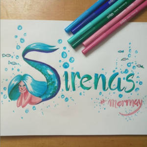 clase de lettering dibujando sirenas de doart
