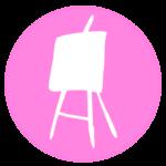 Logo cursos caballete blanco sobre circulo rosa